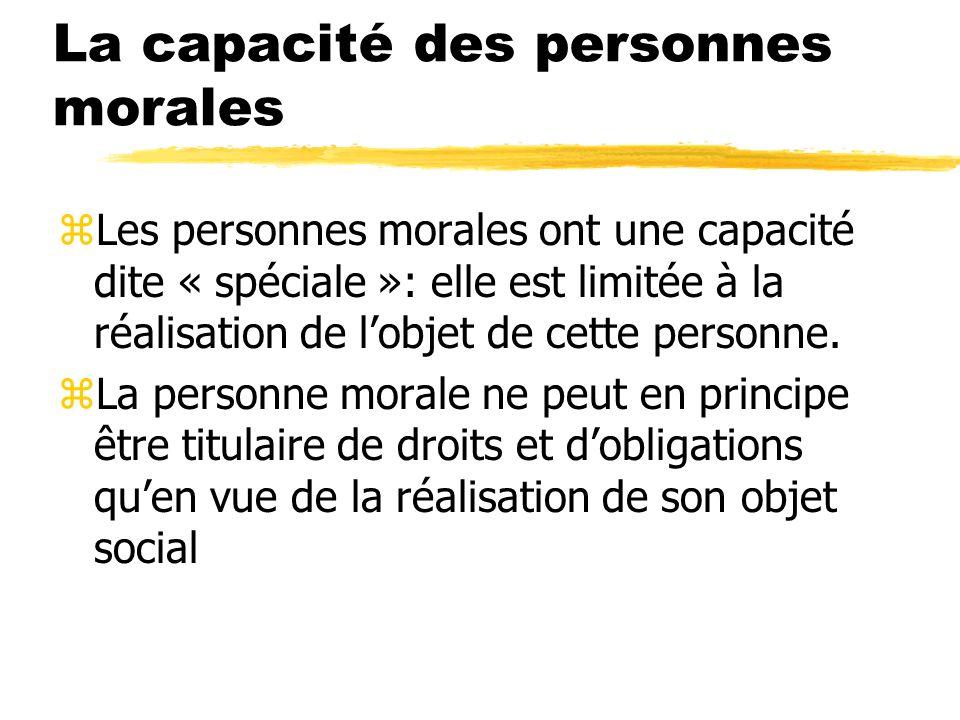 La capacité des personnes morales zLes personnes morales ont une capacité dite « spéciale »: elle est limitée à la réalisation de lobjet de cette pers