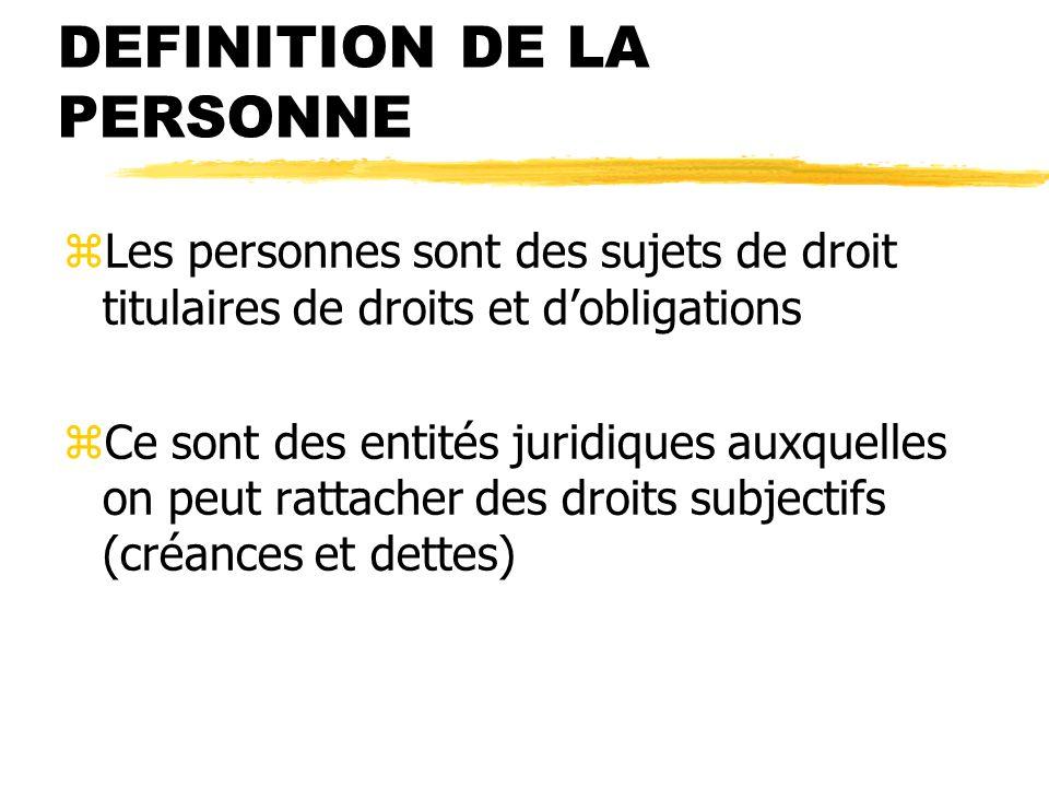 DEFINITION DE LA PERSONNE zLes personnes sont des sujets de droit titulaires de droits et dobligations zCe sont des entités juridiques auxquelles on p