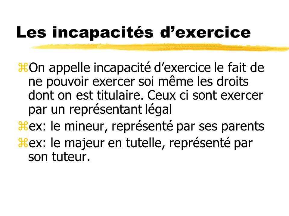 Les incapacités dexercice zOn appelle incapacité dexercice le fait de ne pouvoir exercer soi même les droits dont on est titulaire. Ceux ci sont exerc