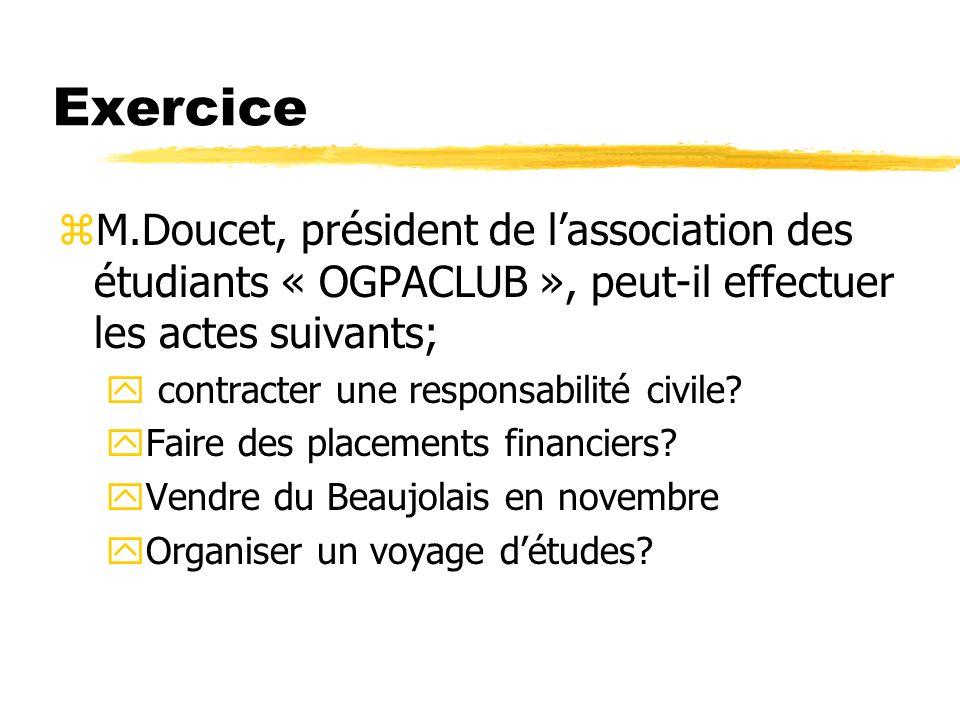Exercice zM.Doucet, président de lassociation des étudiants « OGPACLUB », peut-il effectuer les actes suivants; y contracter une responsabilité civile