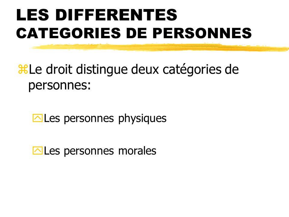 LES DIFFERENTES CATEGORIES DE PERSONNES zLe droit distingue deux catégories de personnes: yLes personnes physiques yLes personnes morales