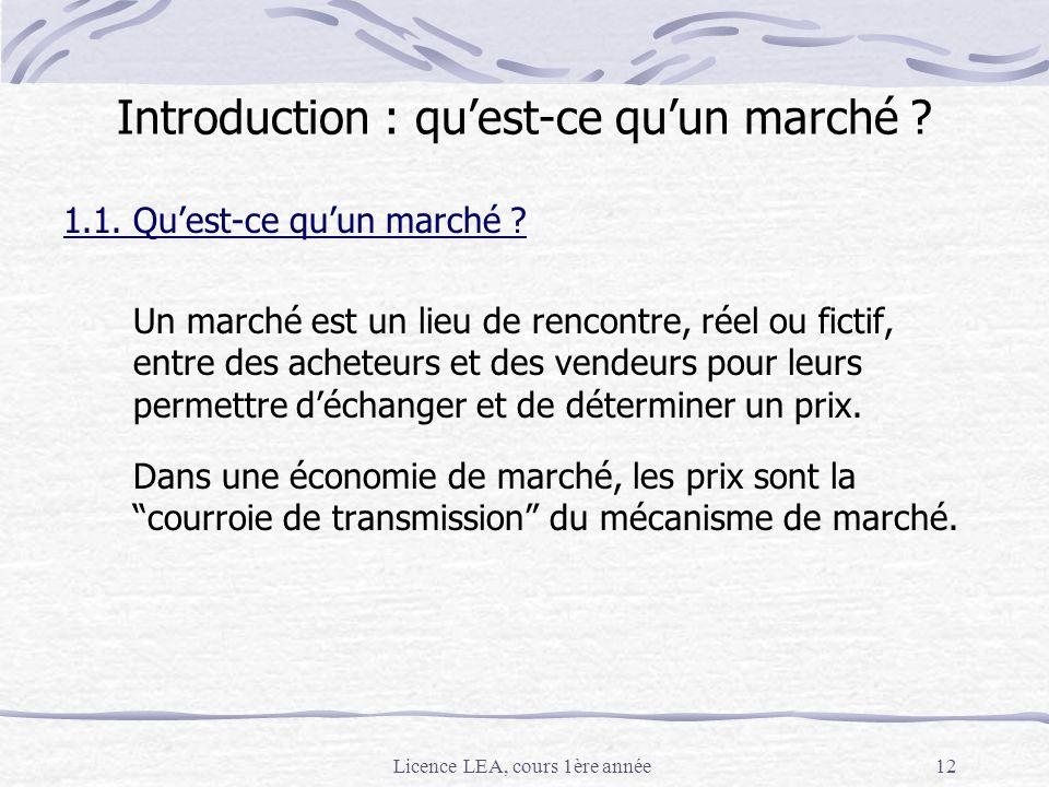 Licence LEA, cours 1ère année12 Introduction : quest-ce quun marché ? 1.1. Quest-ce quun marché ? Un marché est un lieu de rencontre, réel ou fictif,