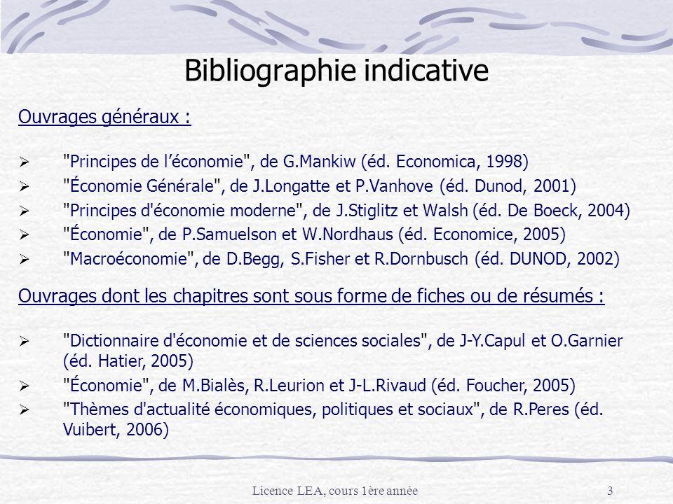 Licence LEA, cours 1ère année3 Bibliographie indicative Ouvrages généraux :