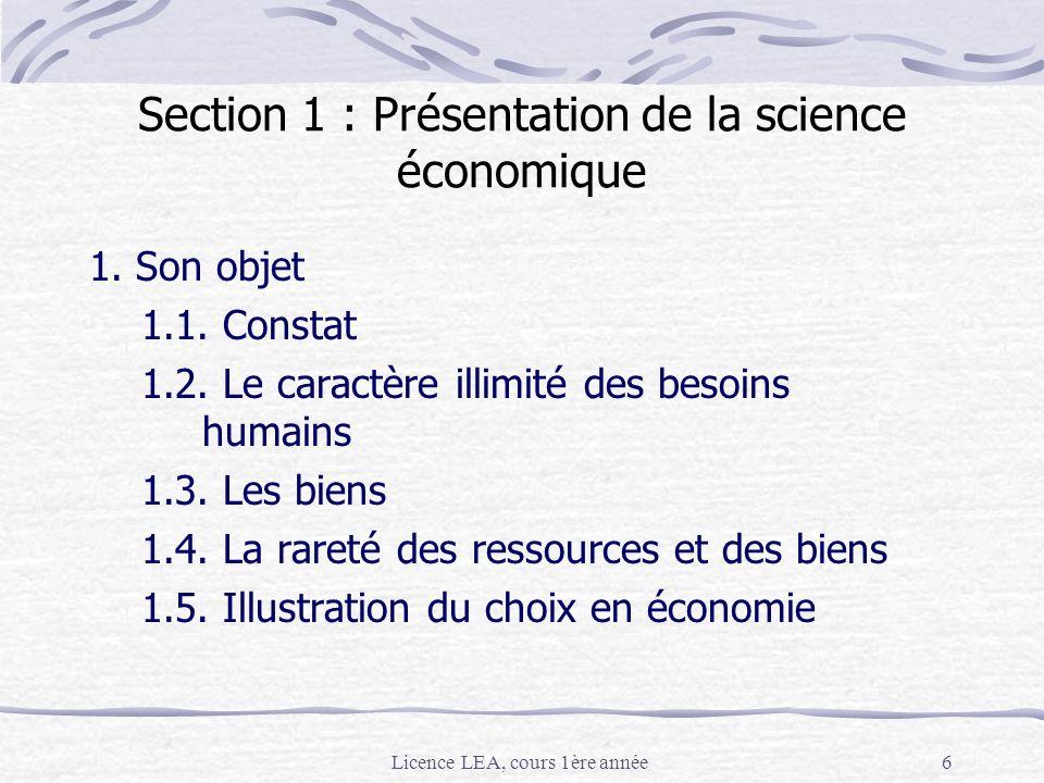 Licence LEA, cours 1ère année6 Section 1 : Présentation de la science économique 1. Son objet 1.1. Constat 1.2. Le caractère illimité des besoins huma