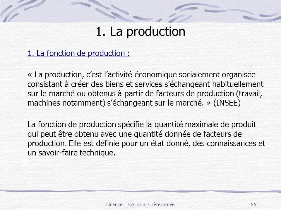 Licence LEA, cours 1ère année66 1. La production 1. La fonction de production : « La production, cest lactivité économique socialement organisée consi
