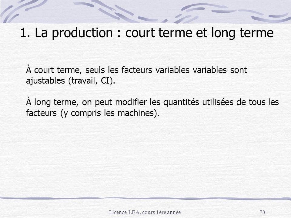 Licence LEA, cours 1ère année73 1. La production : court terme et long terme À court terme, seuls les facteurs variables variables sont ajustables (tr