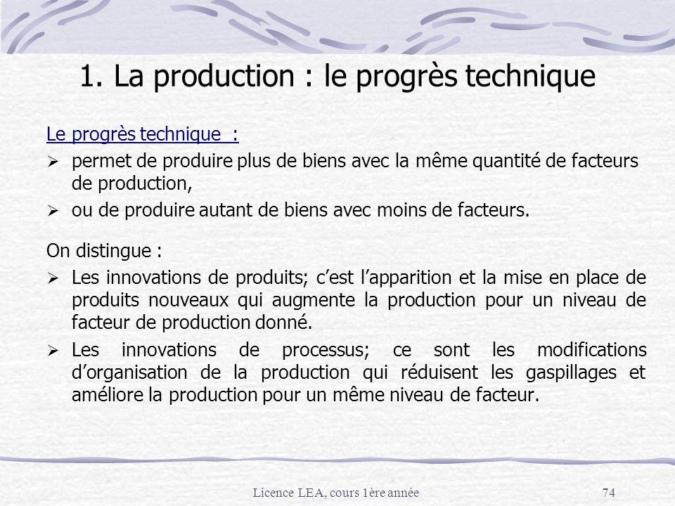 Licence LEA, cours 1ère année74 1. La production : le progrès technique Le progrès technique : permet de produire plus de biens avec la même quantité