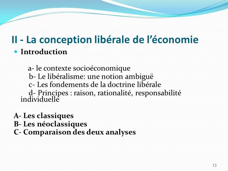 II - La conception libérale de léconomie Introduction a- le contexte socioéconomique b- Le libéralisme: une notion ambiguë c- Les fondements de la doc