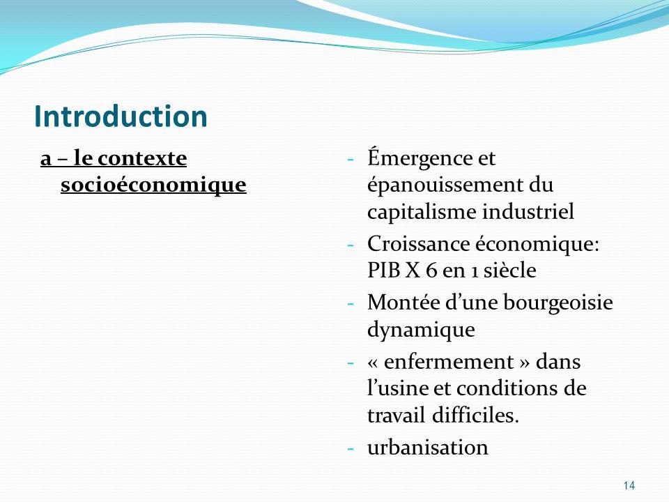 Introduction a – le contexte socioéconomique - Émergence et épanouissement du capitalisme industriel - Croissance économique: PIB X 6 en 1 siècle - Mo