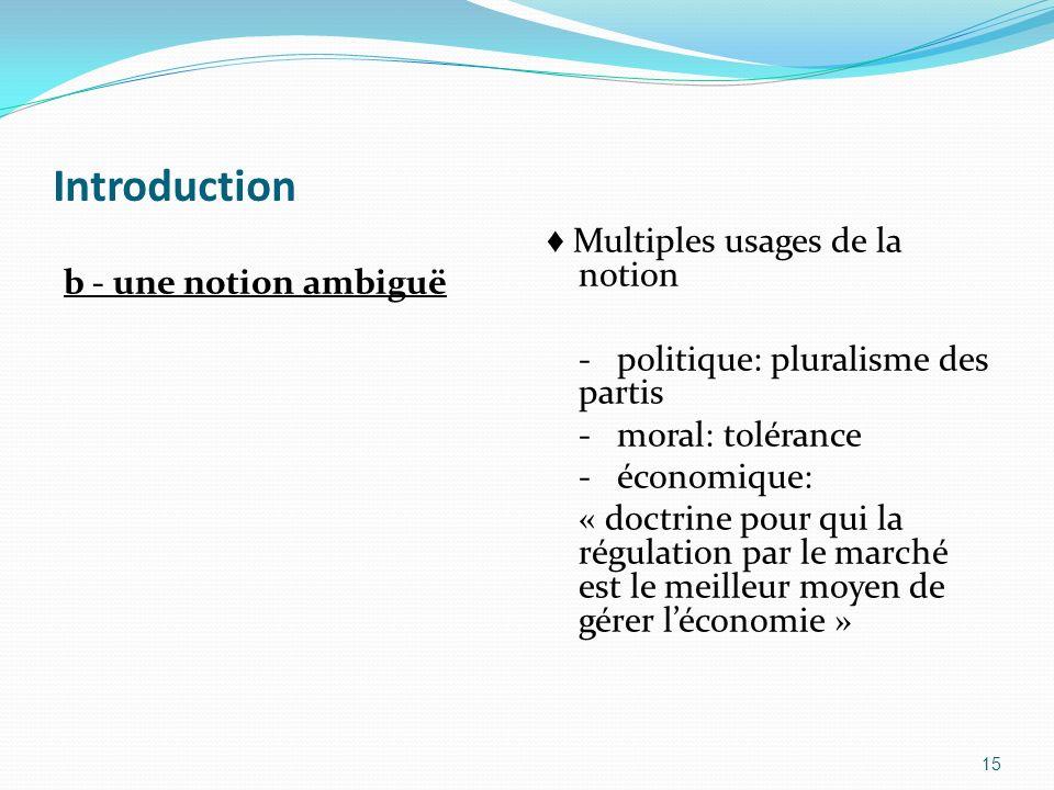 Introduction b - une notion ambiguë Multiples usages de la notion - politique: pluralisme des partis - moral: tolérance - économique: « doctrine pour