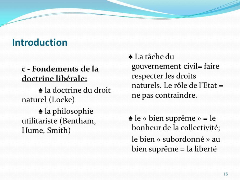 Introduction c - Fondements de la doctrine libérale: la doctrine du droit naturel (Locke) la philosophie utilitariste (Bentham, Hume, Smith) La tâche