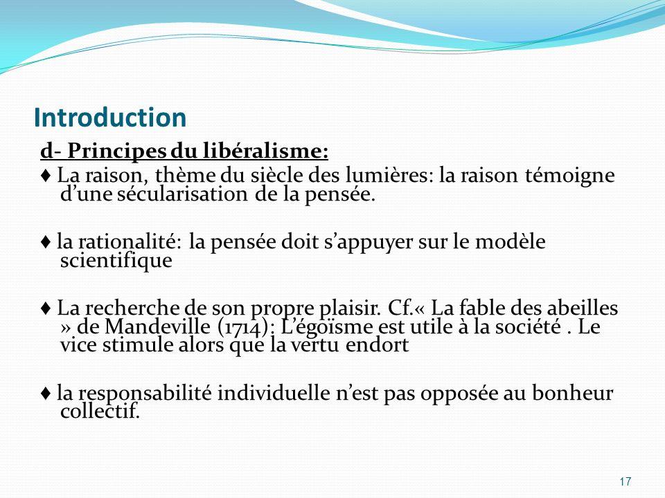 Introduction d- Principes du libéralisme: La raison, thème du siècle des lumières: la raison témoigne dune sécularisation de la pensée. la rationalité
