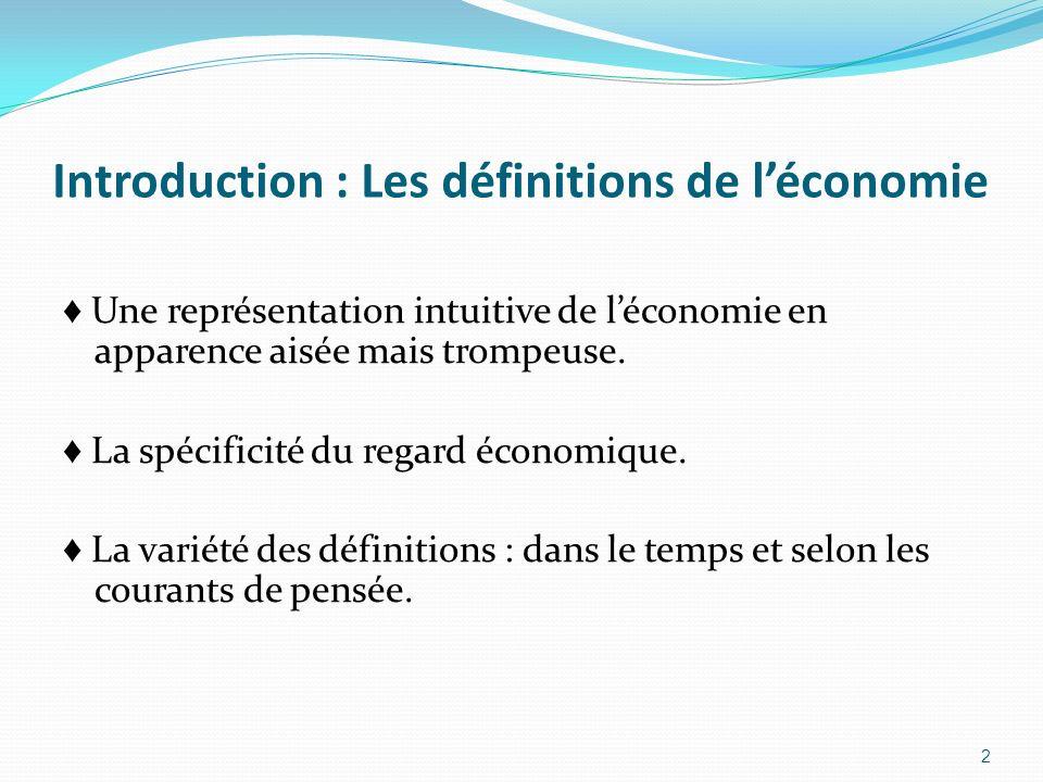Introduction : Les définitions de léconomie Une représentation intuitive de léconomie en apparence aisée mais trompeuse. La spécificité du regard écon
