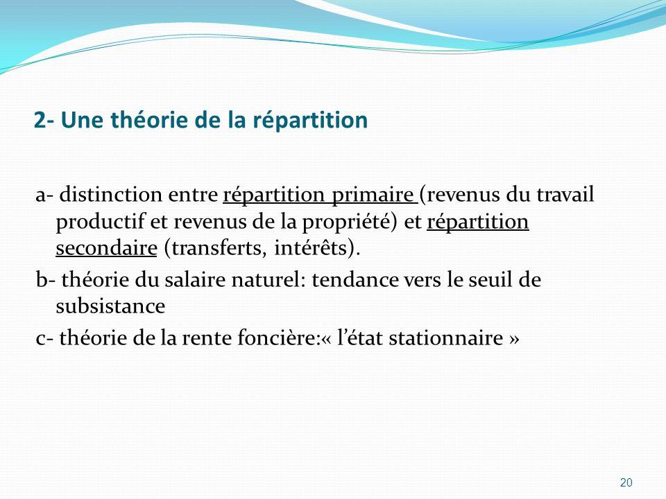 2- Une théorie de la répartition a- distinction entre répartition primaire (revenus du travail productif et revenus de la propriété) et répartition se