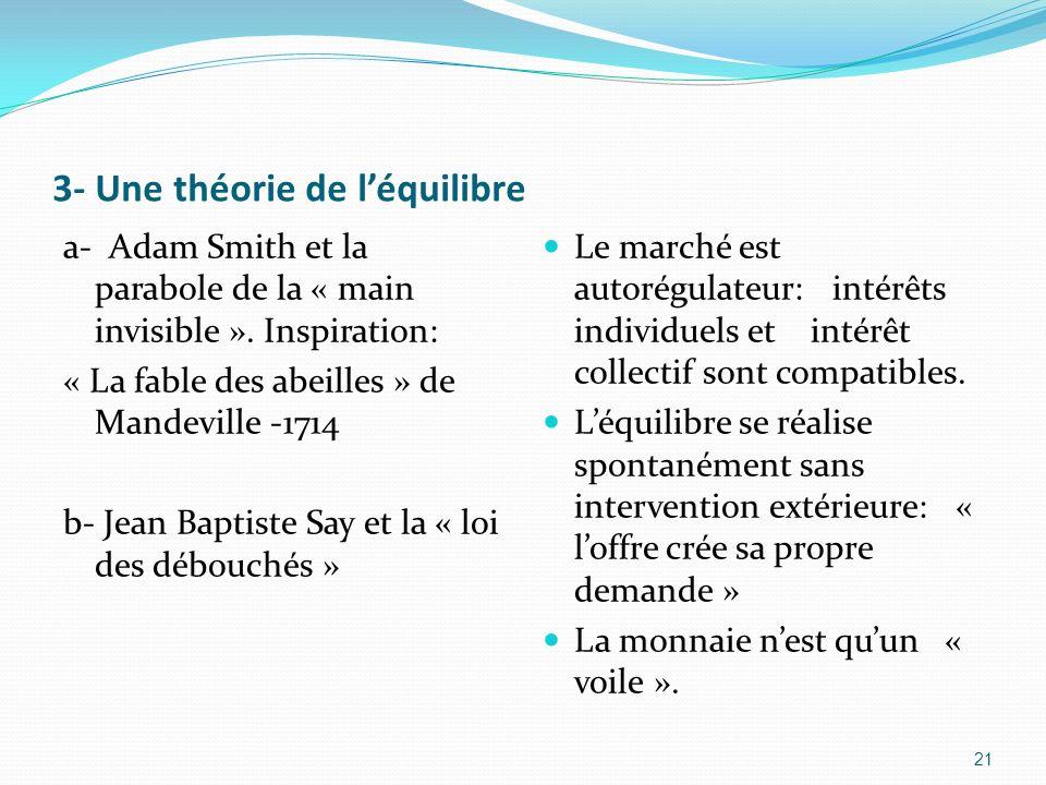 3- Une théorie de léquilibre a- Adam Smith et la parabole de la « main invisible ». Inspiration: « La fable des abeilles » de Mandeville -1714 b- Jean