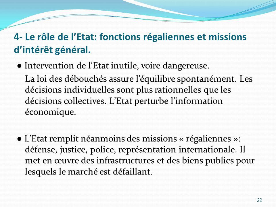 4- Le rôle de lEtat: fonctions régaliennes et missions dintérêt général. Intervention de lEtat inutile, voire dangereuse. La loi des débouchés assure