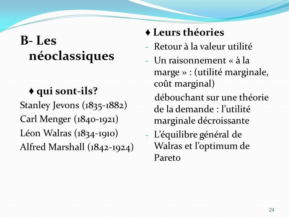 B- Les néoclassiques qui sont-ils? Stanley Jevons (1835-1882) Carl Menger (1840-1921) Léon Walras (1834-1910) Alfred Marshall (1842-1924) Leurs théori