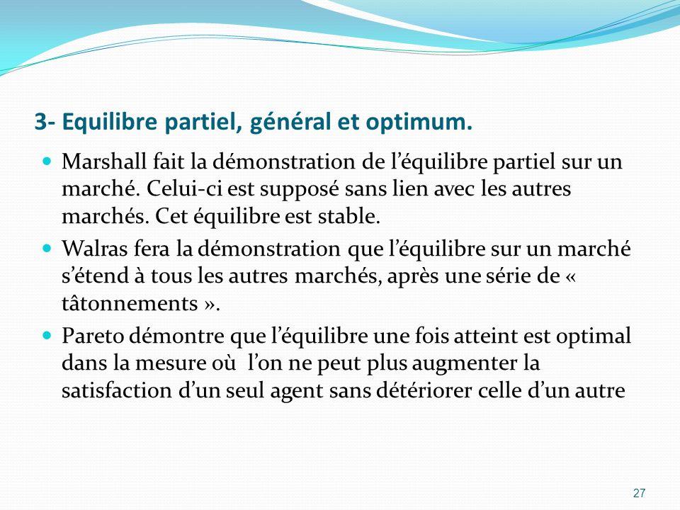 3- Equilibre partiel, général et optimum. Marshall fait la démonstration de léquilibre partiel sur un marché. Celui-ci est supposé sans lien avec les