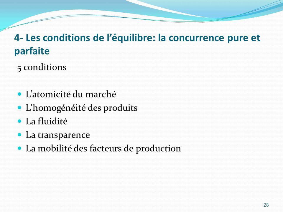 4- Les conditions de léquilibre: la concurrence pure et parfaite 5 conditions Latomicité du marché Lhomogénéité des produits La fluidité La transparen