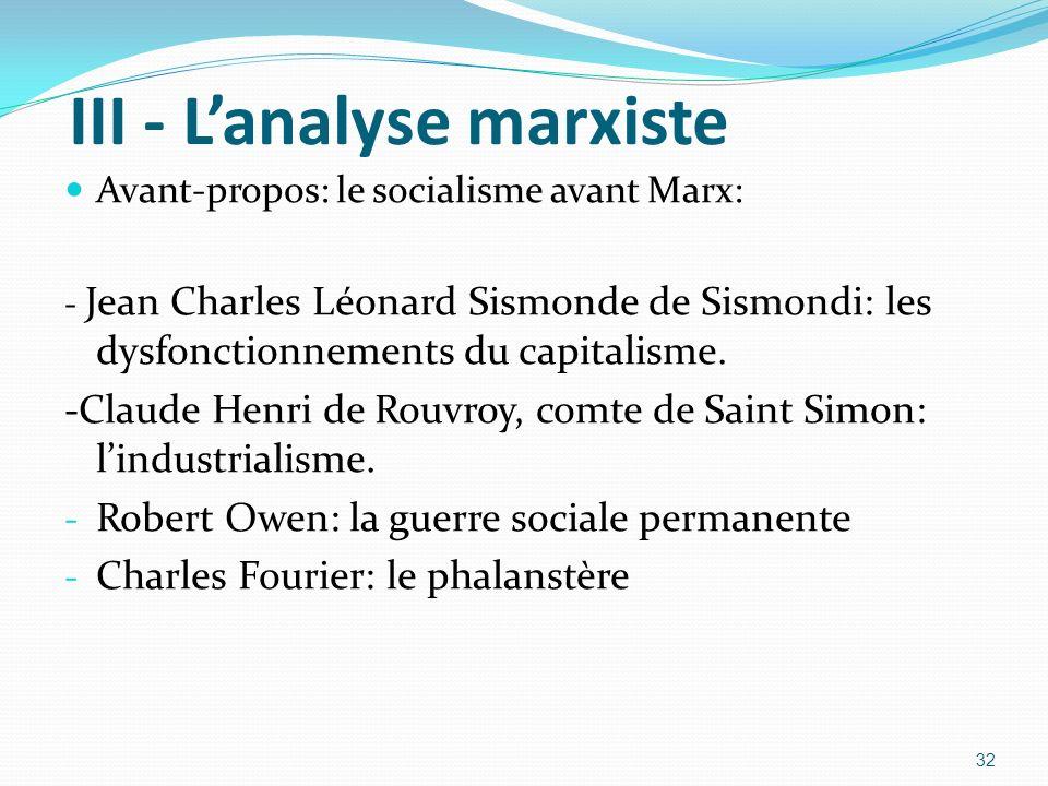 III - Lanalyse marxiste Avant-propos: le socialisme avant Marx: - Jean Charles Léonard Sismonde de Sismondi: les dysfonctionnements du capitalisme. -C