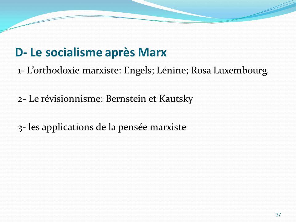 D- Le socialisme après Marx 1- Lorthodoxie marxiste: Engels; Lénine; Rosa Luxembourg. 2- Le révisionnisme: Bernstein et Kautsky 3- les applications de