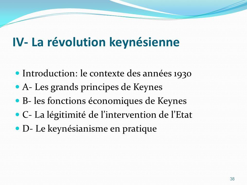 IV- La révolution keynésienne Introduction: le contexte des années 1930 A- Les grands principes de Keynes B- les fonctions économiques de Keynes C- La