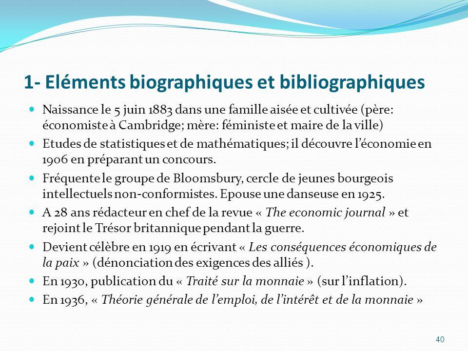 1- Eléments biographiques et bibliographiques Naissance le 5 juin 1883 dans une famille aisée et cultivée (père: économiste à Cambridge; mère: féminis