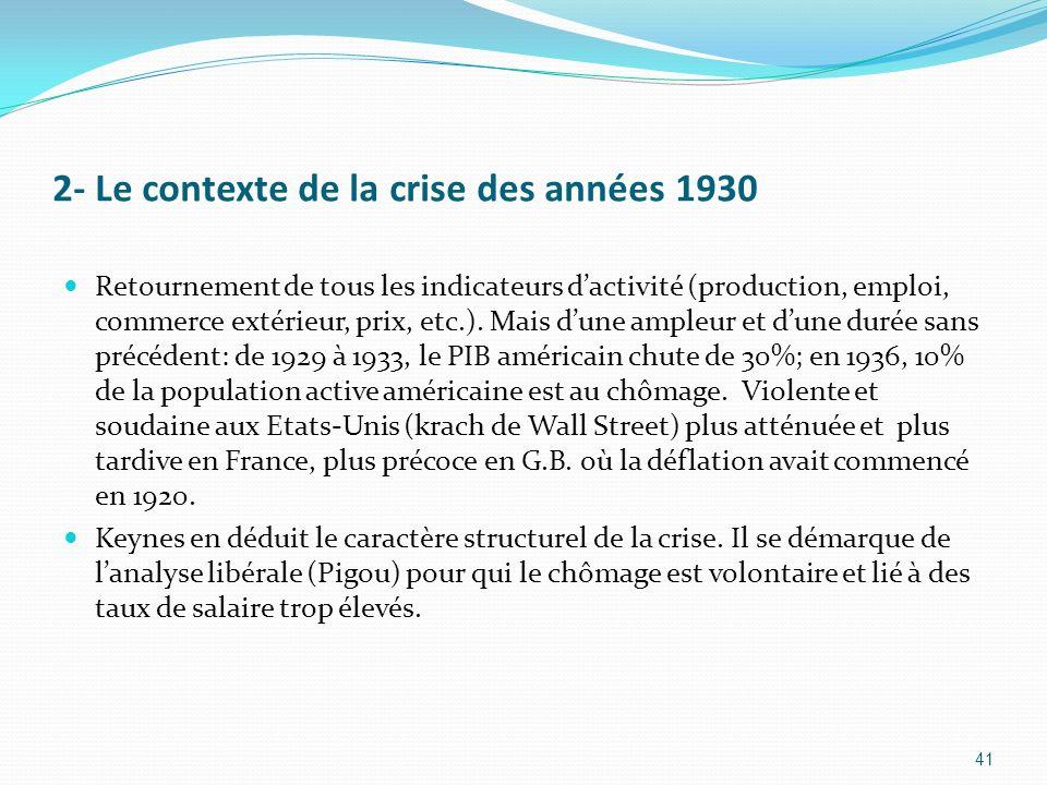 2- Le contexte de la crise des années 1930 Retournement de tous les indicateurs dactivité (production, emploi, commerce extérieur, prix, etc.). Mais d