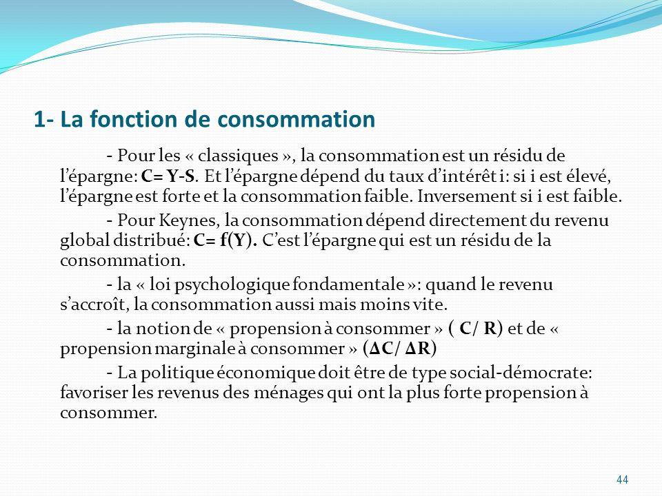 1- La fonction de consommation - Pour les « classiques », la consommation est un résidu de lépargne: C= Y-S. Et lépargne dépend du taux dintérêt i: si