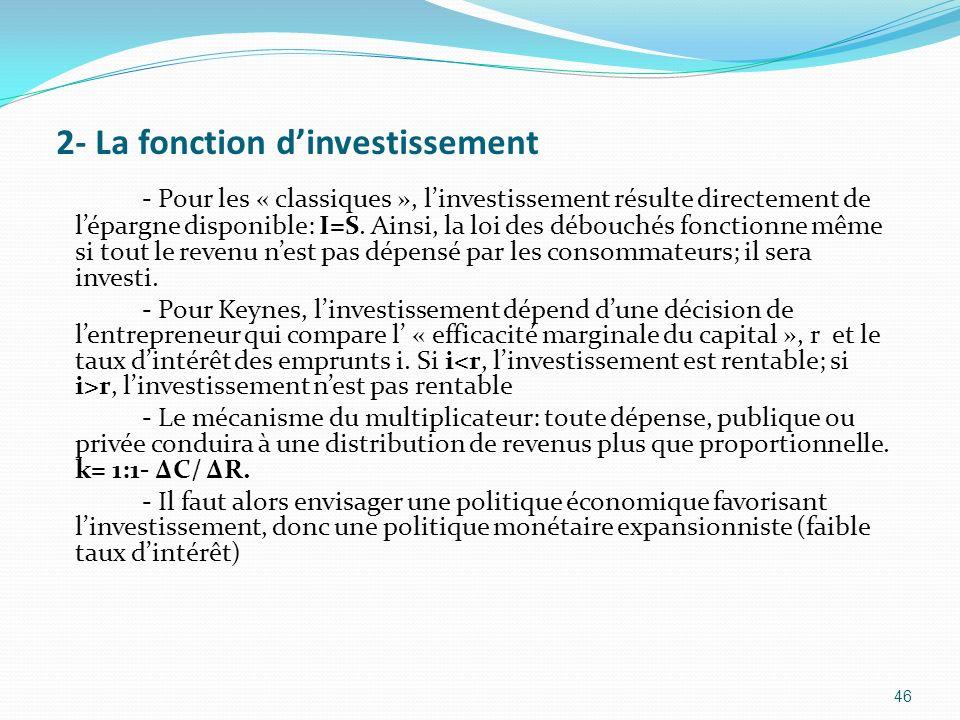 2- La fonction dinvestissement 46 - Pour les « classiques », linvestissement résulte directement de lépargne disponible: I=S. Ainsi, la loi des débouc