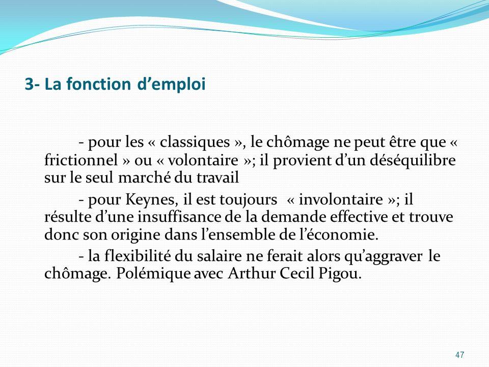 3- La fonction demploi - pour les « classiques », le chômage ne peut être que « frictionnel » ou « volontaire »; il provient dun déséquilibre sur le s