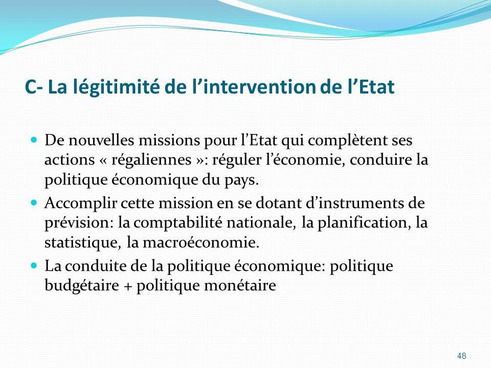 C- La légitimité de lintervention de lEtat De nouvelles missions pour lEtat qui complètent ses actions « régaliennes »: réguler léconomie, conduire la