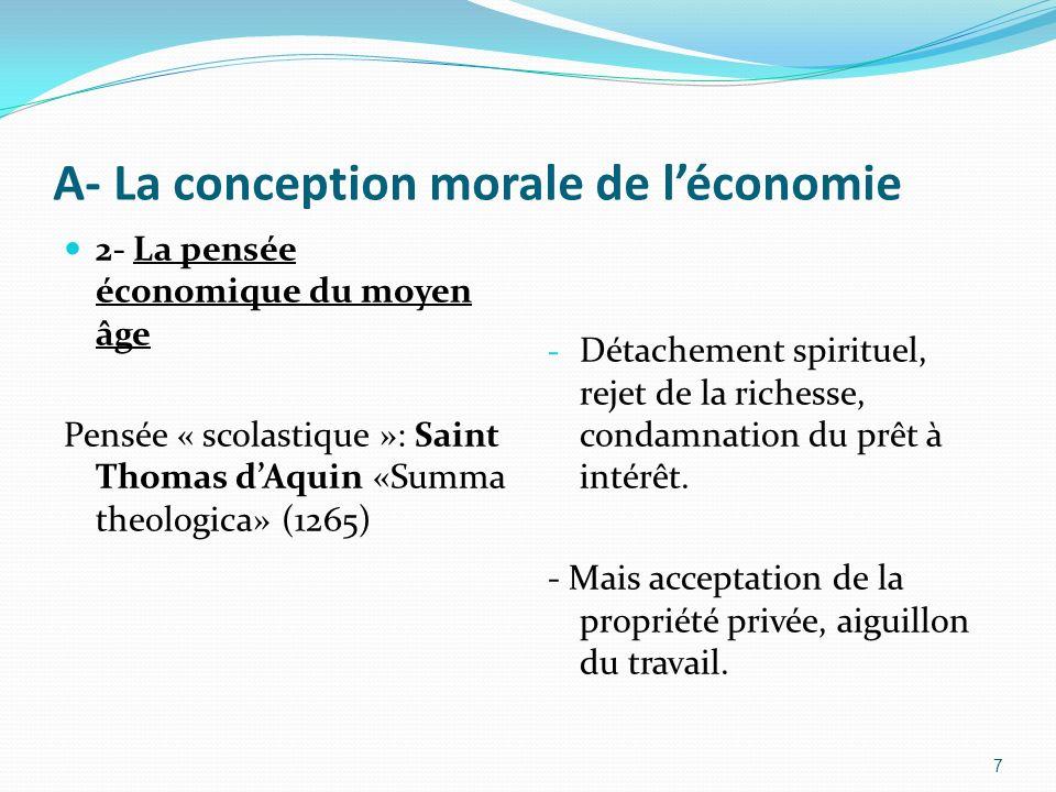 A- La conception morale de léconomie 2- La pensée économique du moyen âge Pensée « scolastique »: Saint Thomas dAquin «Summa theologica» (1265) - Déta