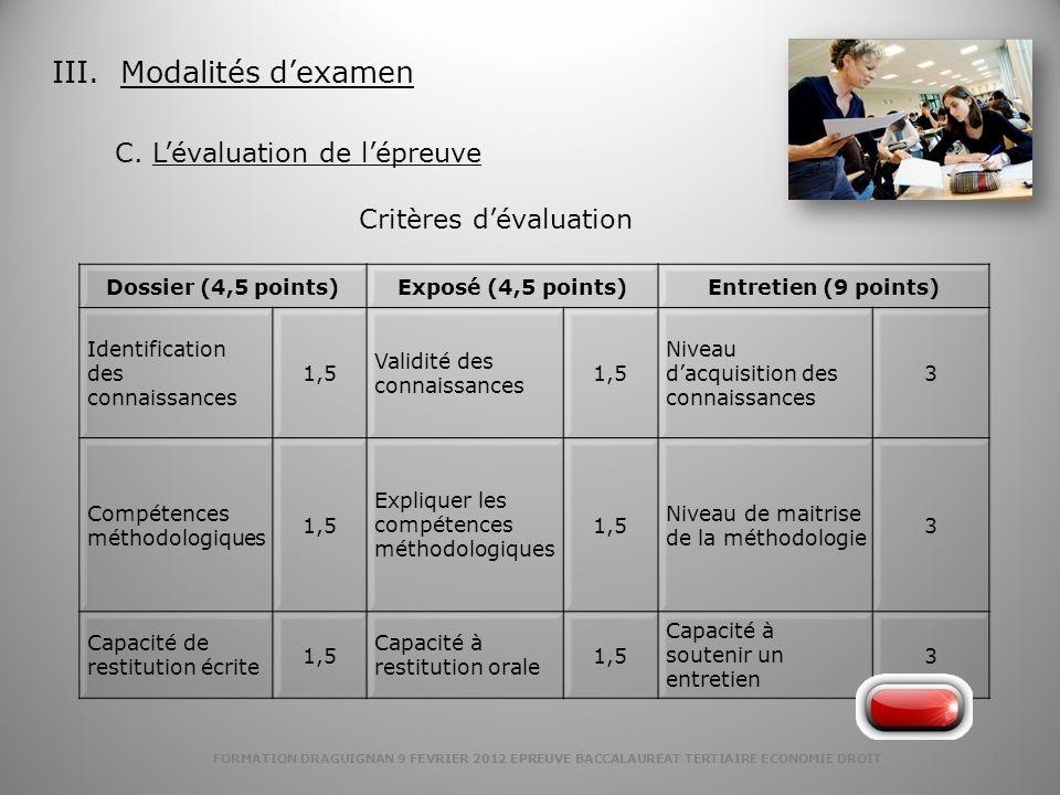 FORMATION DRAGUIGNAN 9 FEVRIER 2012 EPREUVE BACCALAUREAT TERTIAIRE ECONOMIE DROIT III. Modalités dexamen C. Lévaluation de lépreuve Dossier (4,5 point