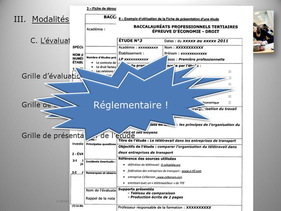 FORMATION DRAGUIGNAN 9 FEVRIER 2012 EPREUVE BACCALAUREAT TERTIAIRE ECONOMIE DROIT III. Modalités dexamen C. Lévaluation de lépreuve Grilles Grille dév