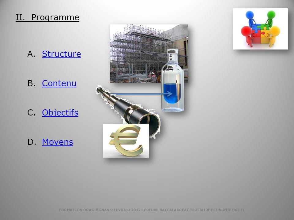 FORMATION DRAGUIGNAN 9 FEVRIER 2012 EPREUVE BACCALAUREAT TERTIAIRE ECONOMIE DROIT A.StructureStructure B.ContenuContenu C.ObjectifsObjectifs D.MoyensM