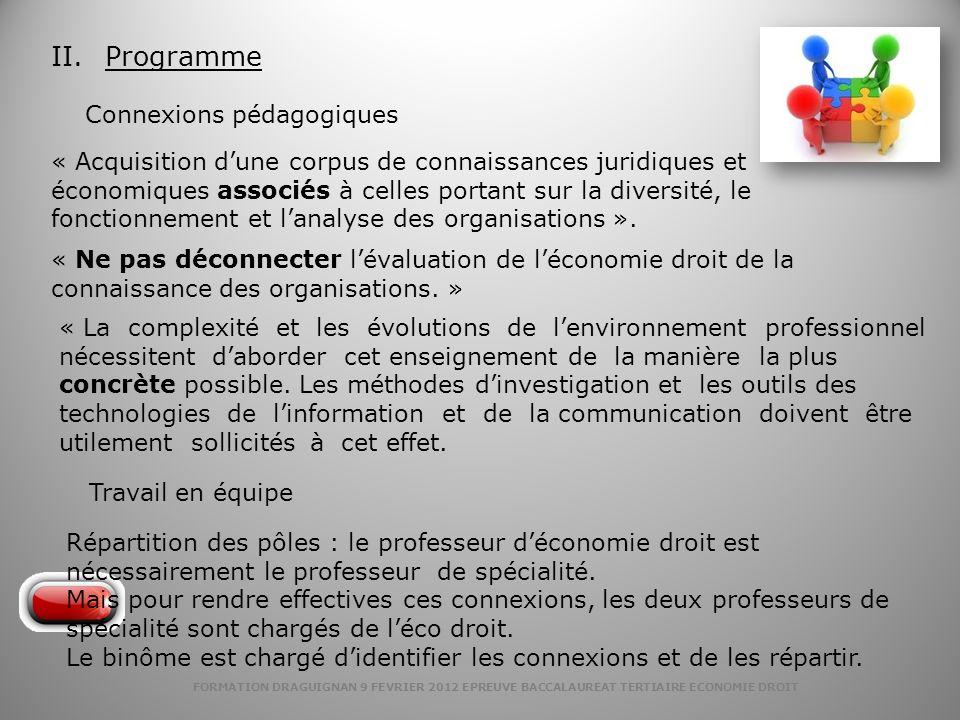 FORMATION DRAGUIGNAN 9 FEVRIER 2012 EPREUVE BACCALAUREAT TERTIAIRE ECONOMIE DROIT Répartition des pôles : le professeur déconomie droit est nécessaire