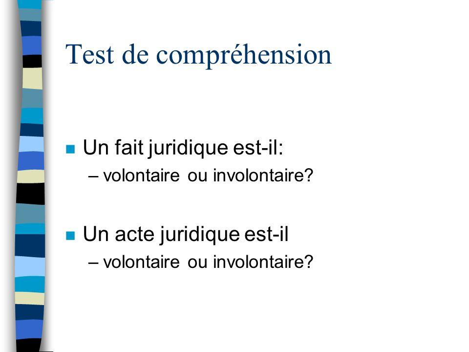 Test de compréhension n Un fait juridique est-il: –volontaire ou involontaire? n Un acte juridique est-il –volontaire ou involontaire?