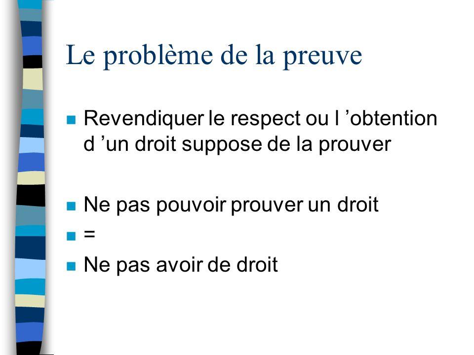 Le problème de la preuve n Revendiquer le respect ou l obtention d un droit suppose de la prouver n Ne pas pouvoir prouver un droit n = n Ne pas avoir
