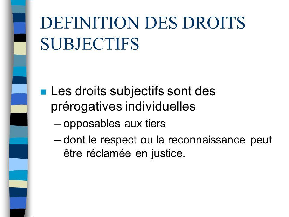 DEFINITION DES DROITS SUBJECTIFS n Les droits subjectifs sont des prérogatives individuelles –opposables aux tiers –dont le respect ou la reconnaissance peut être réclamée en justice.