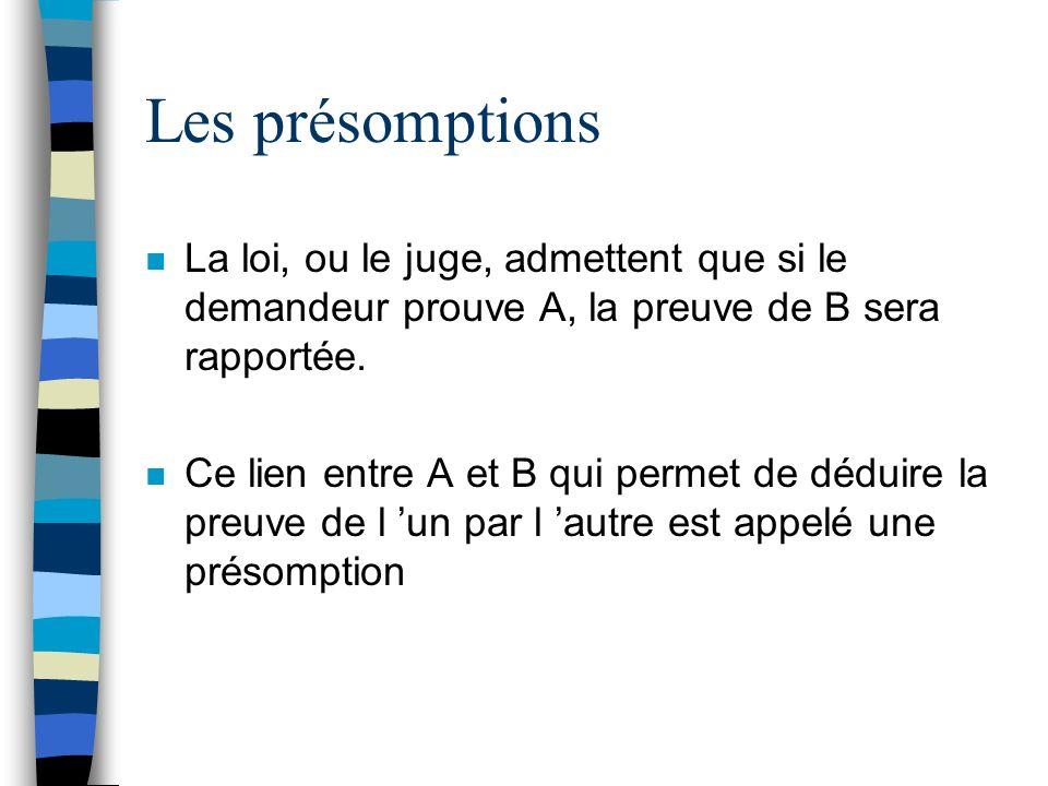 Les présomptions n La loi, ou le juge, admettent que si le demandeur prouve A, la preuve de B sera rapportée. n Ce lien entre A et B qui permet de déd