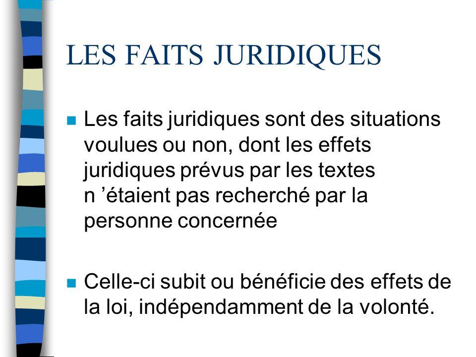 LES FAITS JURIDIQUES n Les faits juridiques sont des situations voulues ou non, dont les effets juridiques prévus par les textes n étaient pas recherc