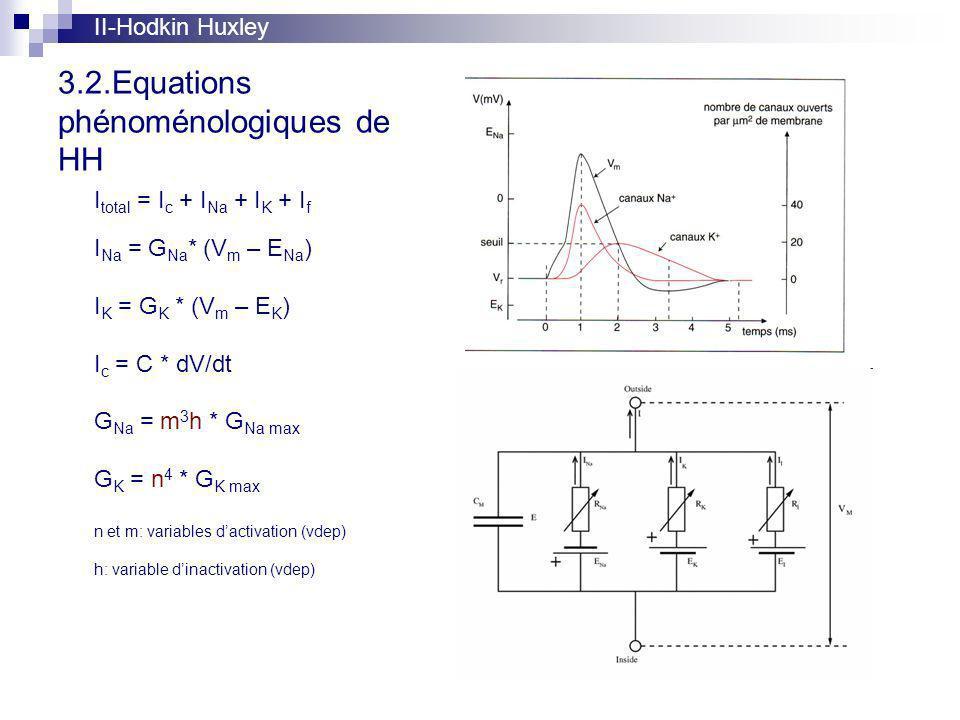 3.2.Equations phénoménologiques de HH II-Hodkin Huxley I total = I c + I Na + I K + I f I Na = G Na * (V m – E Na ) I K = G K * (V m – E K ) I c = C * dV/dt G Na = m 3 h * G Na max G K = n 4 * G K max n et m: variables dactivation (vdep) h: variable dinactivation (vdep)
