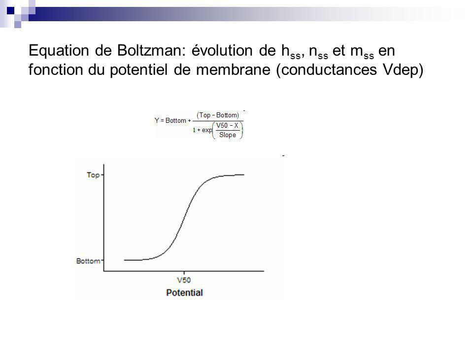 Equation de Boltzman: évolution de h ss, n ss et m ss en fonction du potentiel de membrane (conductances Vdep)