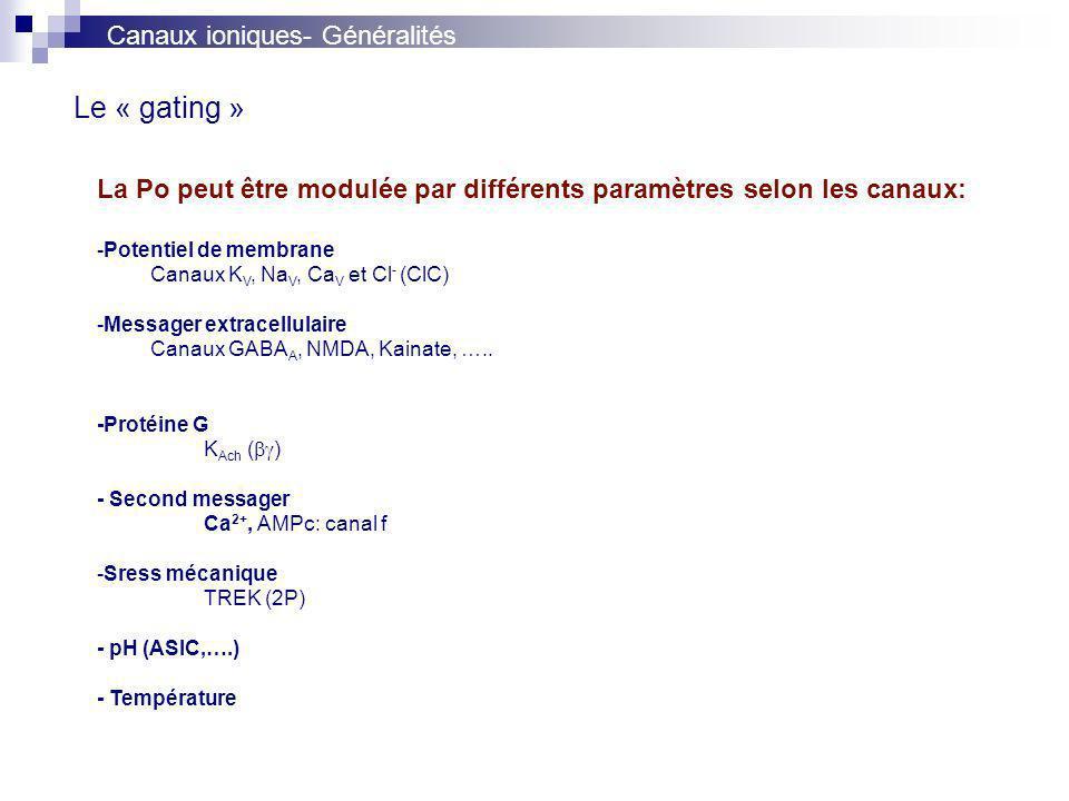 Le « gating » La Po peut être modulée par différents paramètres selon les canaux: -Potentiel de membrane Canaux K V, Na V, Ca V et Cl - (ClC) -Messager extracellulaire Canaux GABA A, NMDA, Kainate, …..