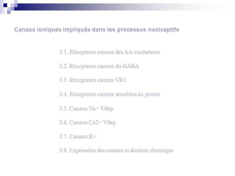 Canaux ioniques impliqués dans les processus nociceptifs 3.1.