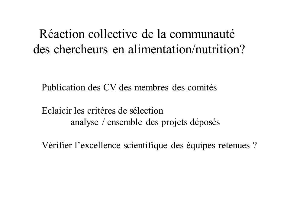 Réaction collective de la communauté des chercheurs en alimentation/nutrition.