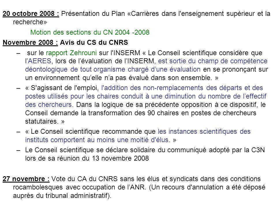 20 octobre 2008 : Présentation du Plan «Carrières dans l'enseignement supérieur et la recherche» Motion des sections du CN 2004 -2008 Novembre 2008 :