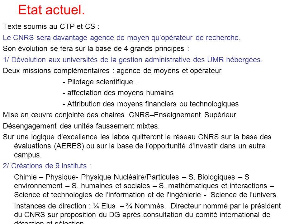 Texte soumis au CTP et CS : Le CNRS sera davantage agence de moyen quopérateur de recherche.