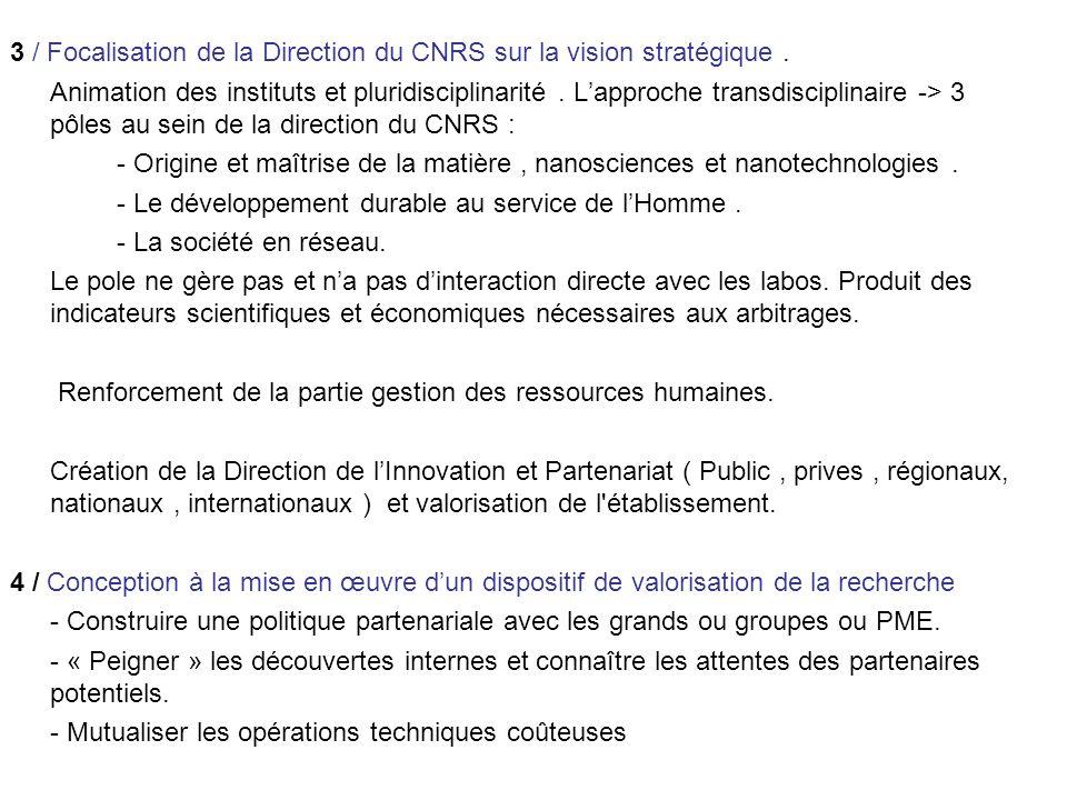 3 / Focalisation de la Direction du CNRS sur la vision stratégique.